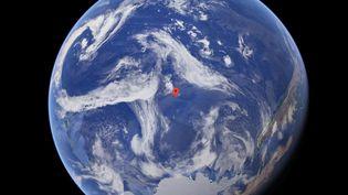 """Le """"cimetière d'objets spatiaux"""" se trouve au milieu de l'océan Pacifique, loin de toute présence humaine. (GOOGLE MAPS)"""