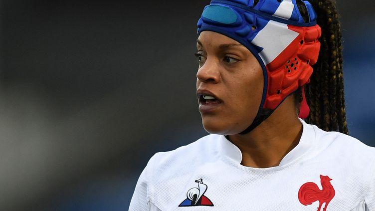 Safi N'Diaye, deuxième ligne de l'équipe de France féminine de rugby, lors du Tournoi des six nations à Galsgow en Ecosse, le 25 octobre 2020. (ANDY BUCHANAN / AFP)