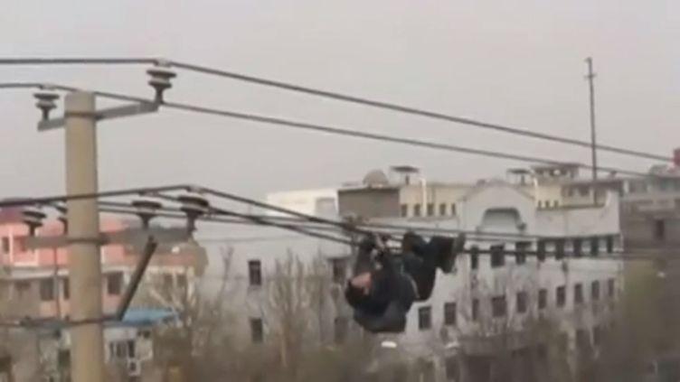 Un homme ivre, suspendu aux câbles d'une ligne à haute tension, àLinfen, dans le nord-est de la Chine, le 29 mars 2013. (FRANCETV INFO / REUTERS / CCTV)