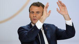 Emmanuel Macron, le 25 avril 2019, lors de sa conférence de presse organisée à l'Elysée. (LUDOVIC MARIN / AFP)