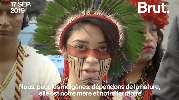 """VIDEO. """"L'atmosphère de la planète n'a pas de frontières"""" : le message d'Artemisa Xakriabá adressé à Donald Trump et Jair Bolsonaro (BRUT)"""