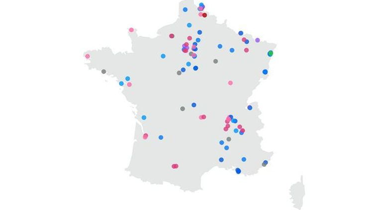 La carte des 100 communes de l'Hexagoneoù le maire a été élu par le plus faible taux d'inscrits lors des municipales de 2020. (FRANCEINFO)