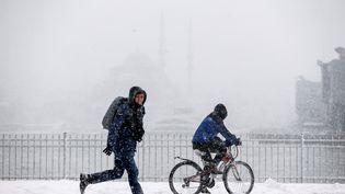 A Istanbul (Turquie), le trafic sur le détroit du Bosphore interrompu à cause de la neige, le 7 janvier 2016. (ARIF HUDAVERDI YAMAN / AFP)