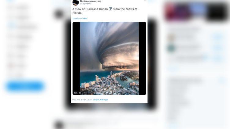 Un internaute a partagé une fausse vidéo de l'arrivée de l'ouragan Dorian sur les côtes américaines, le 6 septembre 2019. (@ORGPHYSICS / TWITTER)