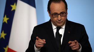 Le président de la République, François Hollande, délivre ses vœux aux acteurs de l'entreprise et de l'emploi, au palais de l'Elysée, à Paris, le 19 janvier 2015. (PHILIPPE WOJAZER / REUTERS)