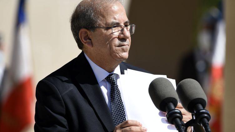 Le président du CFCM,Mohammed Moussaoui, lors d'un hommage aux combattants musulmans morts pour la France lors de la Première Guerre mondiale àFleury-devant-Douaumont (Meuse), le 29 juillet 2020. (MAXPPP)