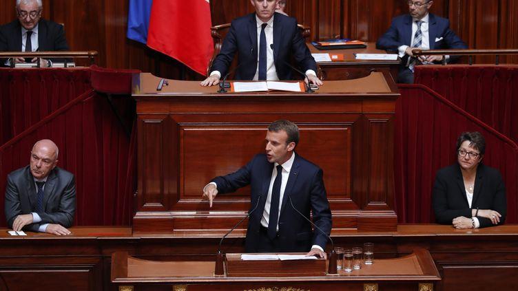 Le président de la République, Emmanuel Macron, lors de son discours devant le Congrès au château de Versailles, lundi 9 juin 2019. (CHARLES PLATIAU / POOL / AFP)