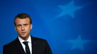 Le président de la République, Emmanuel Macron, le 20 octobre 2017 à Bruxelles (Belgique). (JOHN THYS / AFP)