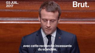 """Devant le Congrès à Versailles, Emmanuel Macron a déclaré vouloir en finir avec la """"recherche incessante du scandale"""". (Brut)"""