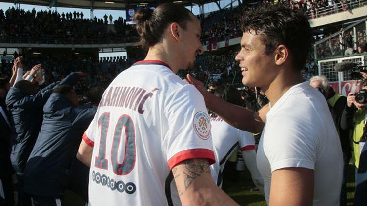 Les deux capitaines du PSG, Zlatan Ibrahimovic et Thiago Silva