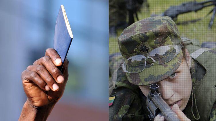 A gauche : un Haïtien brandissant son passeport.A droite,extrait du reportage Les bruits de la guerre en plein cœur de l'Europe. (LUIS ACOSTA-AFP / JAN ZAPPNER)