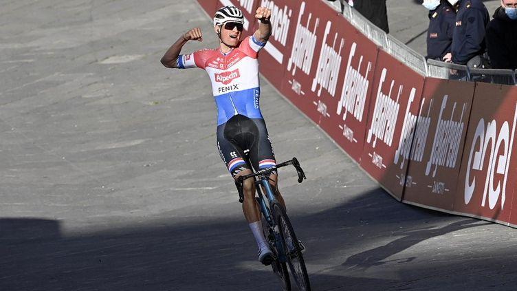 Mathieu Van der Poel exulte sur la ligne d'arrivée à Sienne. (DIRK WAEM / BELGA MAG)