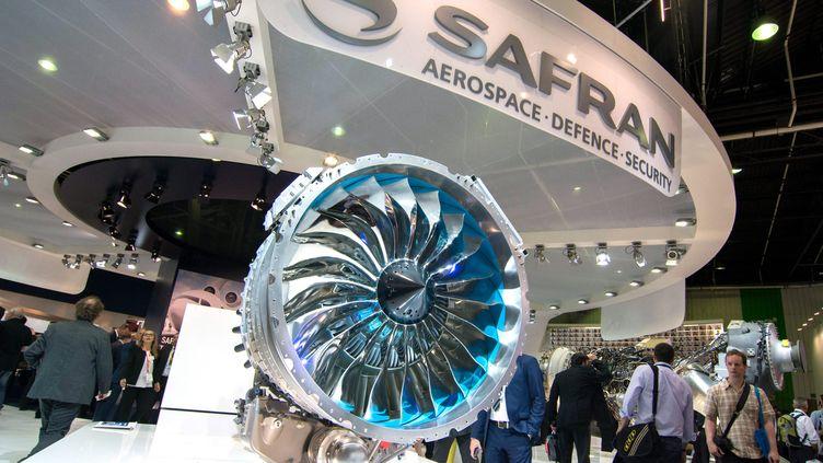 Un réacteur fabriqué par Safran présenté au Salon international de l'aéronautique et de l'espace au Bourget 'Saine-Saint-Denis). Photo d'illustration. (MAXPPP)