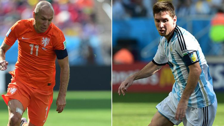 Le Néerlandais Arjen Robben et l'Argentin Lionel Messi