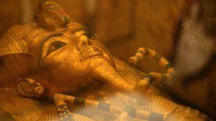 Le sarcophage doré de Toutânkhamon, dans la chambre mortuaire de la Vallée des Rois près de Louxor, Egypte (31 janvier 2019)  (Mohamed El-Shahed / AFP)