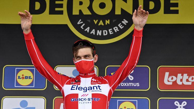 Kasper Asgreen (Deceuninck-Quick-Step) vainqueur du Tour des Flandres, le 4 avril 2021 (DIRK WAEM / BELGA MAG)