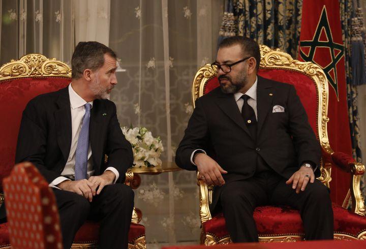 A Rabat, le 13 février 2019, une rencontre décisive entre le roi d'Espagne Felipe VI et son homologue marocain le roi Mohamed VI afin de tarir le flux des migrants africains vers l'Europe. (STRINGER / AFP)