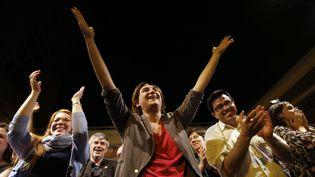Ada Colau, la candidate soutenue par le parti Podemos, après sa victoire à l'élection municipalede Barcelone (Espagne), dimanche 24 mai. (ALBERT GEA / REUTERS)