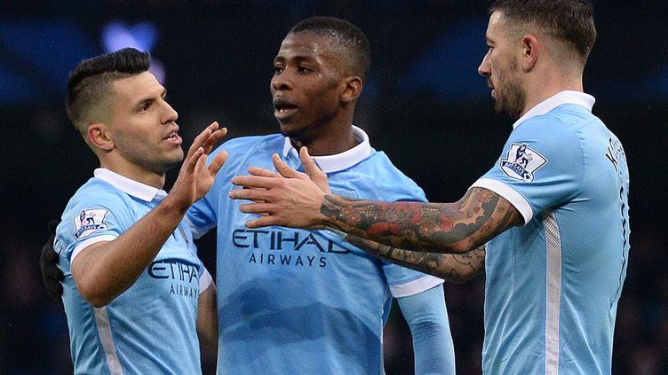 Kun Aguero a scoré deux fois devant Crystal Palace (OLI SCARFF / AFP)