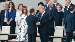 Emmanuel Macron et Donald Trump pour le défilé du 14-Juillet à Paris. (JOEL SAGET / AFP)