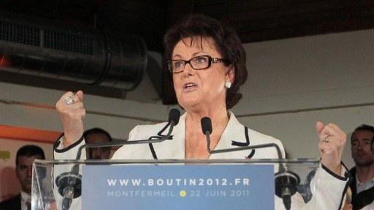 Christine Boutin, le 22 juin 2011 à Montfermeil, après avoir annoncé sa candidature à la présidentielle (JACQUES DEMARTHON/AFP)
