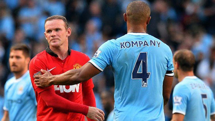 Le joueur de United Wayne Rooney et celui de City Vincent Kompany