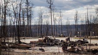 Des voitures brûlées par un violent feu de forêt à Fort McMurray (Alberta, Canada), le 11 mai 2016. (AMRU SALAHUDDIEN / ANADOLU AGENCY / AFP)