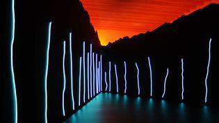 """Exposition """"Le bleu de l'oeil"""" de Claude Lévêque au musée Soulages de Rodez  (REMY GABALDA / AFP)"""