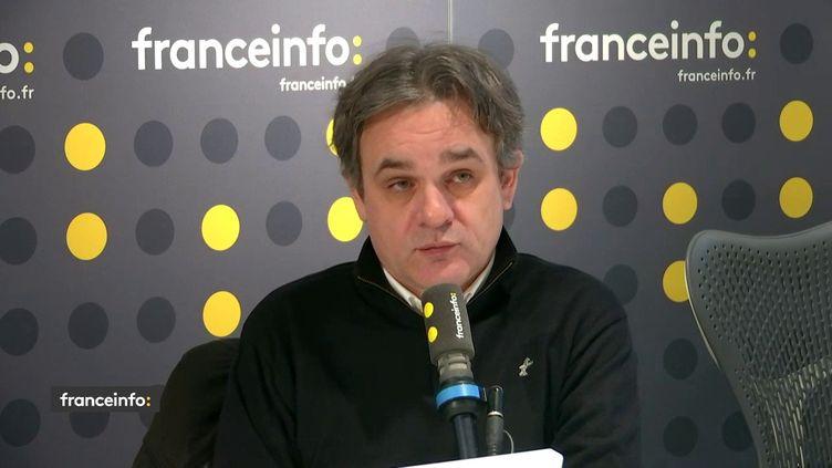 Riss, directeur de la rédaction de Charlie Hebdo, sur franceinfo, mardi 7 janvier. (FRANCEINFO / RADIOFRANCE)