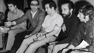 Les réalisateurs français Claude Lelouch, Jean-Luc Godard, François Truffaut, Louis Malle, Roman Polanski enconférence de presse pendant le festival avorté de mai 68. (GILBERT TOURTE / GAMMA-RAPHO)