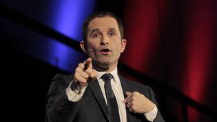 Benoît Hamon, le 18 janvier 2017, lors d'un meeting de campagne à Paris. (CITIZENSIDE / FRANÇOIS LOOCK / AFP)
