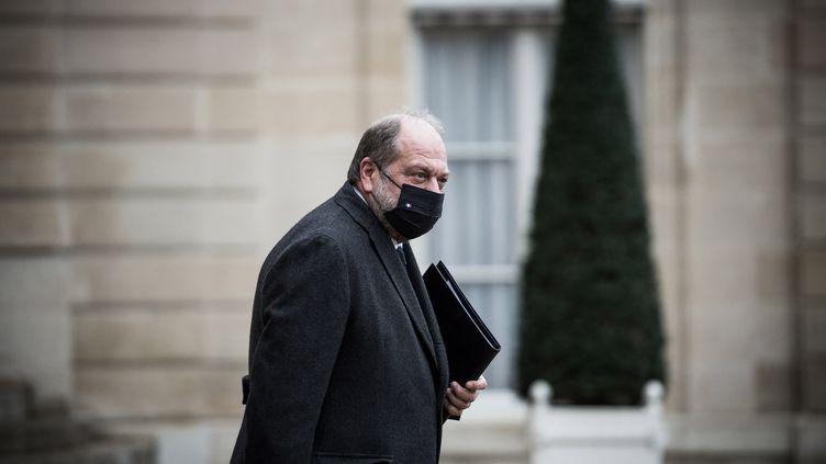 Eric Dupond-Moretti quitte lepalais de l'Elysée (Paris), le 27 janvier 2021. (ARTHUR NICHOLAS ORCHARD / HANS LUCAS / AFP)