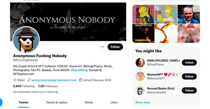 Profil twitter d'Anonymous Fucking Nobody dont la photo est un cryptopunk. (CAPTURE D'ÉCRAN)