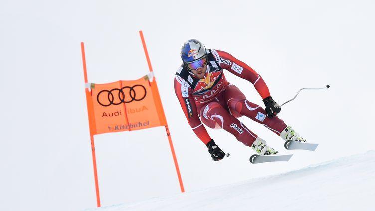 Le Norvégien Aksel Lund Svindal lors du Super-G de Kitzbühel.  (CHRISTOF STACHE / AFP)