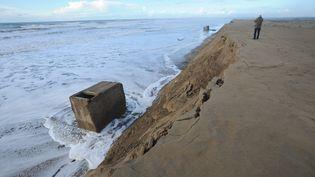 Des dunes s'écroulent en raison des grandes marées, à Saint-Trojan-les-Bains, sur l'île d'Oléron (Charente-Maritime), le 29 janvier 2014. (  MAXPPP)