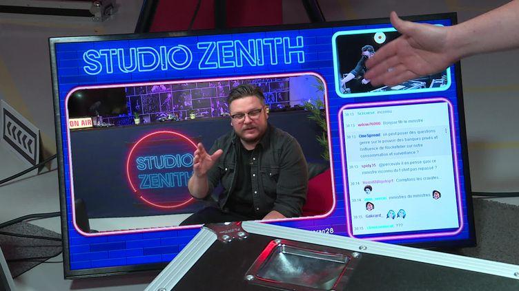 """""""Studio Zénith"""" sur Twitch en direct à 19h chaque mercredi. (CAPTURE D'ÉCRAN FRANCE 3 / A. RAPP)"""