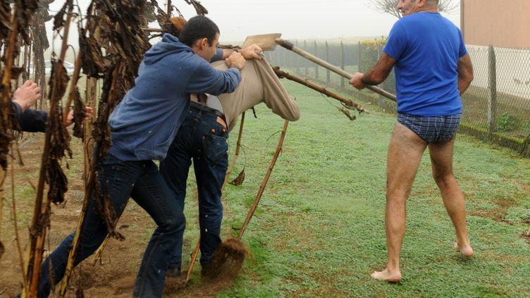 Le président de la Ligue de protection des oiseaux (LPO), Allain Bougrain-Dubourg, est frappé avec une pelle per les propriétaires de pièges pour pinsons, lundi 9 novembre 2015, à Audon (Landes). (GAIZKA IROZ / AFP)