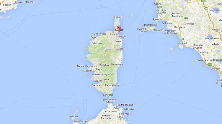 Capture d'écran de Google Maps pointant le village de Brando, près de Bastia (Haute-Corse). (GOOGLE MAPS / FRANCETV INFO)
