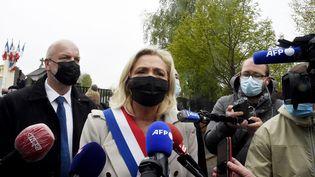 La présidente du Rassemblement national, Marine Le Pen, à Hénin-Beaumont (Pas-de-Calais), le 8 mai 2021. (FRANCOIS LO PRESTI / AFP)