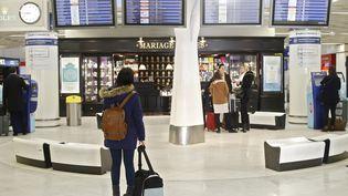 Une femme regarde les panneaux d'affichage des vols à l'aéroport parisien d'Orly, le 8 avril 2015. (THOMAS SAMSON / AFP)