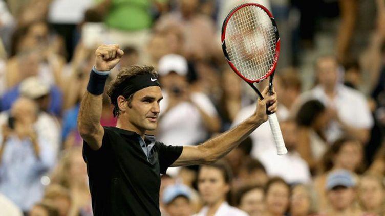 Roger Federer tranquillement en quart de finale de l'US Open 2014 (MATTHEW STOCKMAN / GETTY IMAGES NORTH AMERICA)