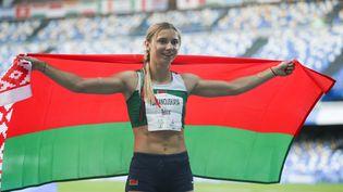 Krystsina Tsimanouskaya lors d'une compétition d'athlétisme à Naples, en juillet 2019 (ZHENG HUANSONG / XINHUA)