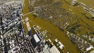 Une vidéo 3D simule une crue centennale de la Seine, semblable à celle de 1910. (IAU ILE-DE-FRANCE)