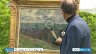 """Le tableau """"La ville de Dieppe"""" de Claude Monet exposé à l'endoit où il a été peint (France 3 Normandie)"""