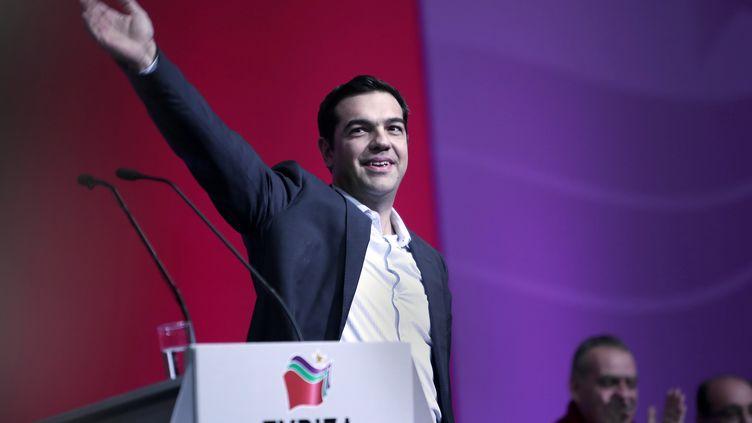 Alexis Tsipras, dirigeant de Syriza (gauche radicale), parti donné en tête des sondages avant les législatives du 25 janvier 2015 en Grèce. (ANGELOS TZORTZINIS / AFP)