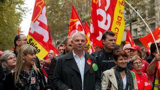 Thierry Lepaon, secrétaire général de la CGT, lors d'une manifestation à Paris le 16 octobre 2014. (CITIZENSIDE/DENIS PREZAT / AFP)