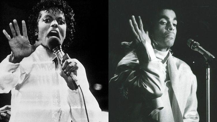 A gauche, Michael Jackson à Kansas City le 6 juillet 1984 - A droite, Prince en concert à Stockholm le 8 mai 1987  (A gauche © UPI / AFP - A droite © Torbjörn Selander/ Exp / TT News Agency / AFP)