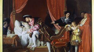 """Le tableau """"François Ier reçoit les derniers soupirs de Léonard de Vinci"""" (1818), de Jean-Auguste-Dominique Ingres, exposé au Petit Palais de Paris. (AFP / LEEMAGE)"""