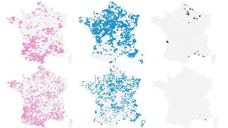 Cartes de l'implémentation du vote du PS, de l'UMP et du FN aux élections départementales 2015 et cantonales 2011. (NICOLAS ENAULT / FRANCETV INFO)