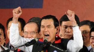 Ma Ying-jeou après la victoire à l'élection présidentielle, à Taïwan, le 14/01/2012 (AFP/SAN YEH)